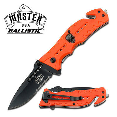 $ CDN28.19 • Buy Spring Assisted Semi-Automatic Master USA Ballistic Orange Skull Halloween Knife