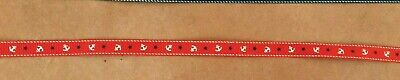 Nautical Ribbon Red Or Navy 1.2cm Wide By Gisela Graham Ltd -price For 2 Metres • 1.59£
