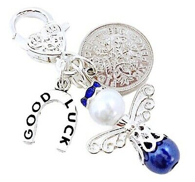£2.95 • Buy Lucky Sixpence Bride ,wedding Garter Charm ,something Blue,angel In A Lovely Bag