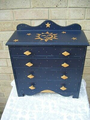 Small Chest Of Drawers. Sun, Moon And Stars. Painted. Jewellery/ Collectors. • 105£