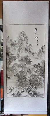 Large Hand Finished Chinese Landscape Scroll Wall Hanging • 25£
