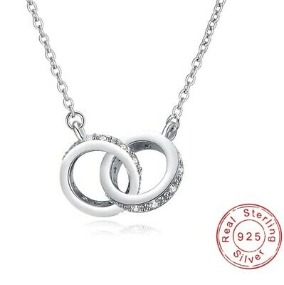 925 Sterling Silver Plated CZ Infinity/Karma Double Circles Necklace+Bag • 5.49£
