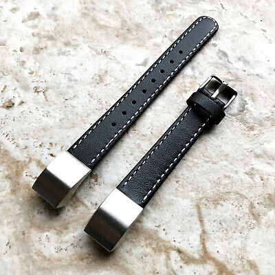 AU50.35 • Buy Black Stylish Unisex Soft Leather Band Strap With Stitches For Fitbit Alta HR