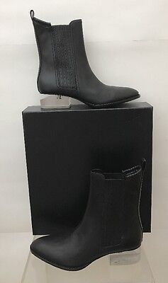 AU584.98 • Buy ALEXANDER WANG Anouck Chlesea Lucite Cut Out Heel Black Leather Boots 6.5 37 NEW