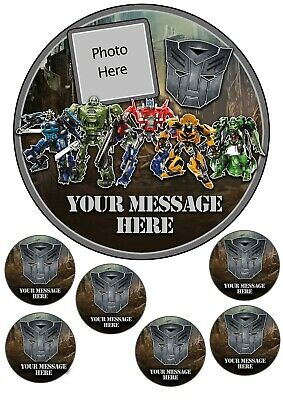 Transformers Cake Topper , Edible Icing, 7.5 Inch Cake Round And Cupcake Toppers • 5.75£