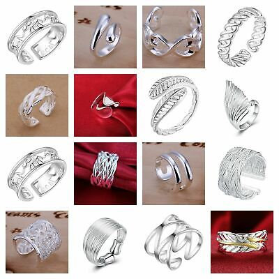 UK 925 Sterling Silver Plated Adjustable Ring Open Band Thumb Finger Women's+Bag • 3.99£
