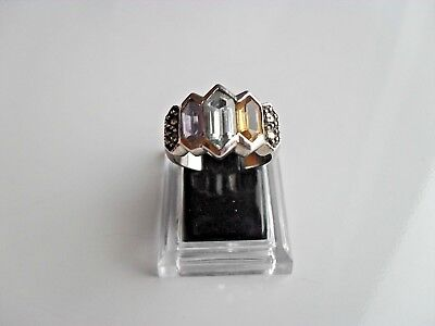 Ladies Sterling Silver 925 Ring Size L - M  With 3 X Lovely Coloured Stones • 26.95£
