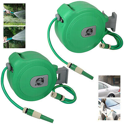 10 15 20 & 30M Auto Retractable Wall Mounted Water Hose Reel Watering Spray Tool • 39.99£