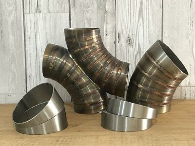 """£2.40 • Buy Qty-1 Stainless Steel Exhaust 10° Pie Cuts 3.5"""" 89mm Elbow Rough Cut"""