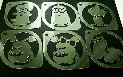 £6.95 • Buy M2 Set Of 6pcs Minions Despicable Me Airbrush Stencil Coffee Face Body Paint
