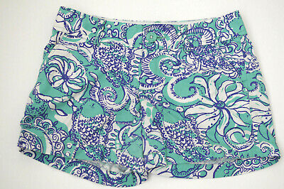 cb42e39c46bbad Lilly Pulitzer The Callahan Shorts Team Blue Wave Octopus Cotton Pockets  Size 00 • 25.19$