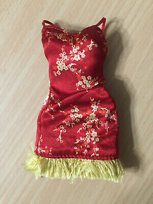 $18.98 • Buy Barbie Doll My Scene Outfit Red Chinese Asian Oriental Floral Fringe Dress Rare