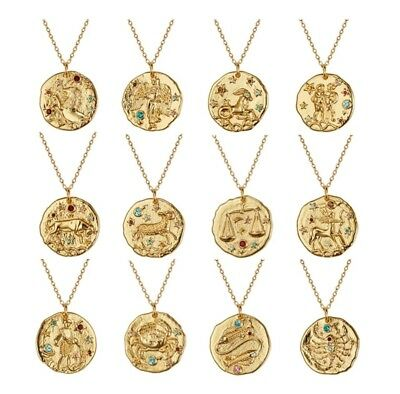 £11.99 • Buy Gold Plated Zodiac Gem Constellation Star Sign Necklace Bloggers Stories Coin