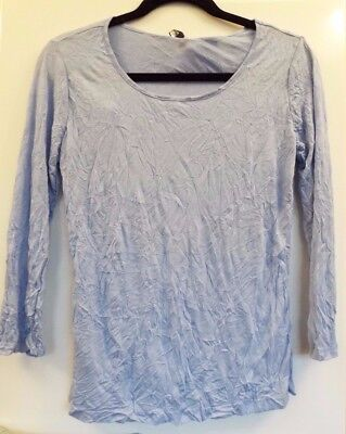 £31 • Buy Yong Kim Crinkle Tunic 3/4 Sleeve Size 10 Violet Blue