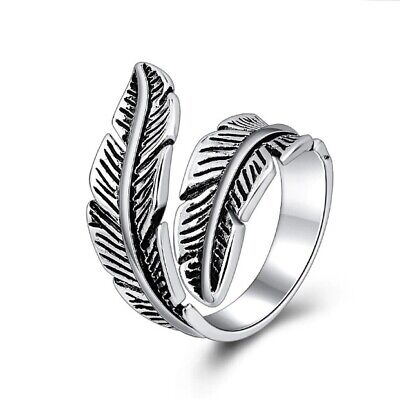 £5.99 • Buy 925 Sterling Silver Plated Leaf/Feather Ring Adjustable Finger Toe Thumb UK