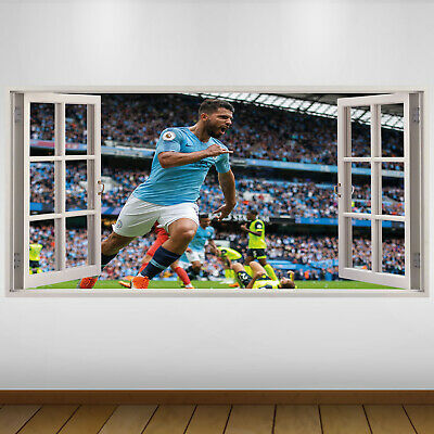 EXTRA LARGE Manchester City Player Goal Football Vinyl Wall Sticker Poster • 24.99£