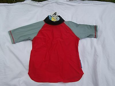 LION IN THE SUN Red/Grey/Black UV PROTECTION Short Sleeve Top Size 3-4yrs New! • 4£
