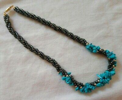 Hematite Necklace Barrel And Turquoise Color Stone Bib Style Grey Healing  • 7.99£