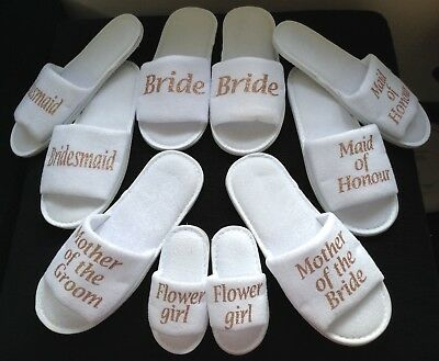 £3.95 • Buy ROSE GOLD Hen Bride Spa Slippers Wedding Bridesmaid Personalised Gift All Sizes