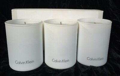 £27.68 • Buy Scented 3 Calvin Klein Candles Delicate Blossoms Hyacinth Rhubarb Vetiver Musks