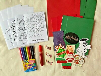 Children's Christmas Make Your Own Cards Or Colour In Canvas Bag & 4 Card Kits • 2.99£