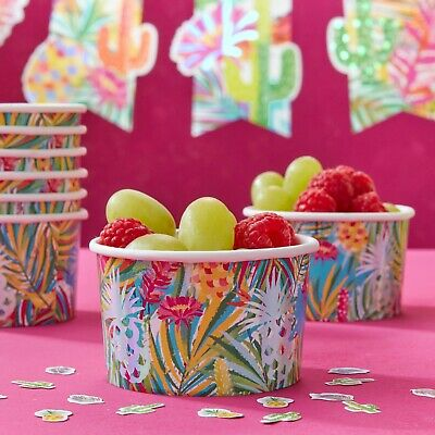 Ginger Ray Tropical Pineapple & Cactus Summer Party Treat / Ice Cream Tubs X8 • 3.75£