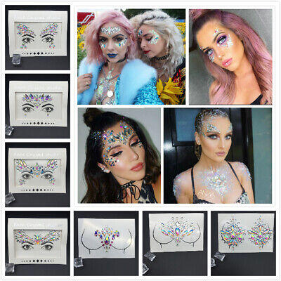 £2.65 • Buy Face Gems Adhesive Glitter Crystal Tattoo Sticker Festival Party Body Eye Makeup