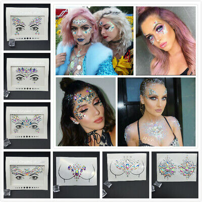 Face Gems Adhesive Glitter Crystal Tattoo Sticker Festival Party Body Eye Makeup • 2.95£
