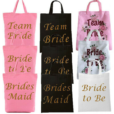 Hen Party Bags Black Pink Team Bride Tote Goodies Favors Shoulder Keepsake Gift • 2.99£
