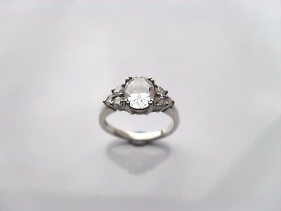 Ladies 925 Sterling Silver Ring Size K - L With 7 X Clear CZ Sparklers Very Nice • 19.95£