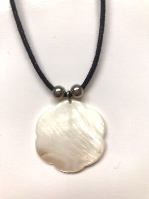 Black Necklace With Cream Pendant Indie Hippie Bohemian Style Worn Once • 2.99£