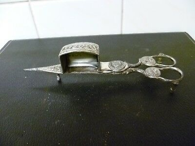 A Georgian, Silver Plated, Spring Loaded Scissors, Candle Snuffer / Wick Trimmer • 69£