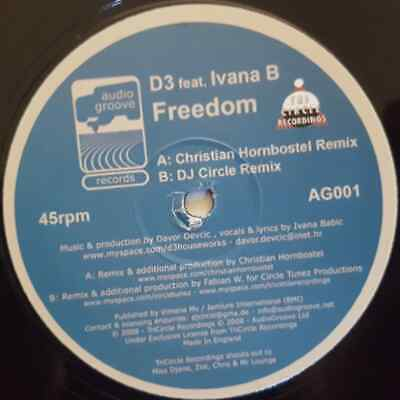 D3 Feat. Ivana B - Freedom - House / Trance - Vinyl 12  Single • 5.99£