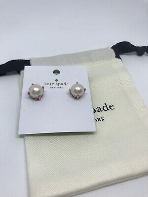 $ CDN31.44 • Buy Authentic Kate Spade Stud Earrings Blush Faux Pearl Rose Gold Bride With Dustbag