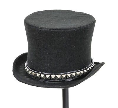 £16.54 • Buy Studded Top Hat Mad Hatter Leather Band Slash Rock Punk Goth Steampunk Tophat