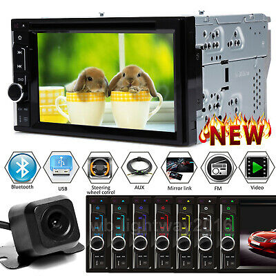 $131.20 • Buy Car Stereo Radio 2DIN DVD FM AM Player Touch Screen Mirror For GPS + Rear Camera