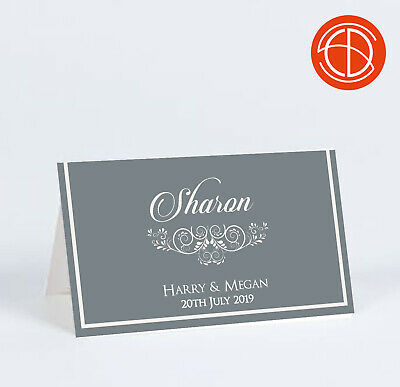 10 Personalised Name Place Cards Elegant Lace Table Settings Wedding Party  • 5£