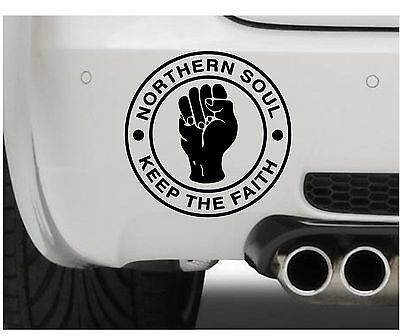 100mm (4  )Northern Soul Keep The Faith Symbol Bumper Car Van Window Sticker • 1.99£