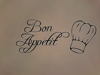 Bon Appetit Wall Art Kitchen Dining Room Cafe  Sticker Decal Easy Apply D.i.y • 3.99£