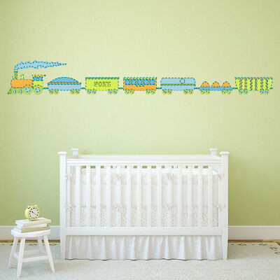 Green Blue Train Childrens Wall Sticker WS-47158 • 24.99£