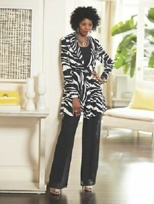 5e5d111c6 Ashro Black White Zebra Formal Dress Cruise Church Pant Suit 6 10 12 14 16  16W