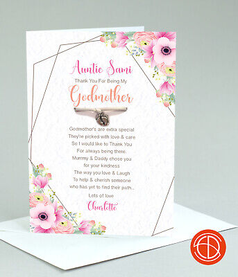 £4.25 • Buy Thank You For Being My Godparents, Godmother, Godfather, Christening Charm Card