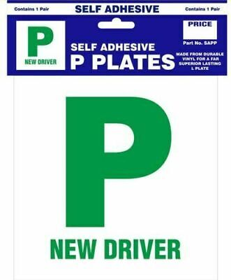 2 X SELF ADHESIVE PASS NEW DRIVER GREEN P PLATE PLATES FOR CAR VEHICLE • 1.99£