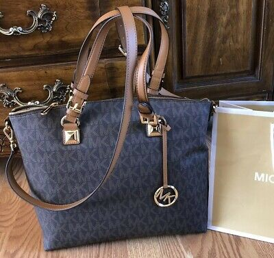8d1e29d6290e  298 Michael Kors Jet Set Item Brown Monogram Handbag Purse MK Satchel Bag  • 189.75