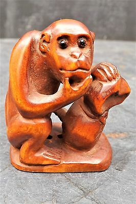 £225 • Buy Antique Japanese Netsuke   The Wise Old Monkey With His Nut