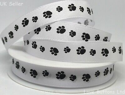 FULL ROLL 20m Paw Print Black And White Grosgrain Ribbon 15mm Cat Dog Puppy • 5.50£