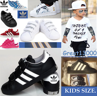 New Kids Adidas Originals Court Star C Black Trainers, Shoes Toddlers Babies • 49.99£
