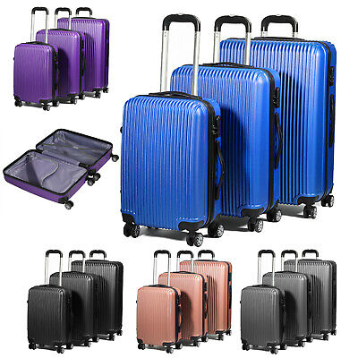 3Pcs Hard Shell Suitcase Set Hand Travel Luggage Sets 4 Wheel Trolley Case Cabin • 59.95£