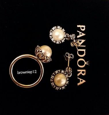 Pandora Sparkling Perl Set - Ring And Earrings • 120£