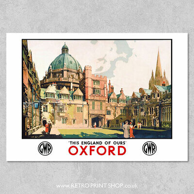 £7.50 • Buy GWR Oxford Poster - Railway Posters, Retro Vintage Travel Poster Prints